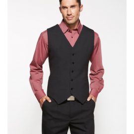 The Biz Corporates Mens Peaked Vest Knitted Back ia a Wool blend made of 55% Polyester, 43% Wool, 2% Elastane. Available in Black. Sizes 87R - 142R.