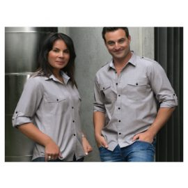 The Unlimited Editions Mens Midtown Shirt is made from 100% Premium Cotton. Has 2 chest pockets and roll up tab sleeves. Grey. Great work shirts.