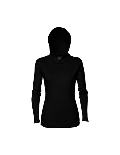 The Aurora Womens Lightweight Hoodie is a 200gsm, 100% cotton hoodie. Great for Summer. Available in Black. Sizes 8 - 18. Great summer branded hoodies.