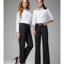 The Biz Collection Ladies Classic Flat Front Pant is 65% Polyester, 35% Viscose material. Available in 3 colours. Sizes 6-26