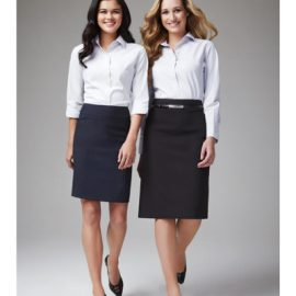 The Biz Collection Ladies Classic Knee Length Skirt is a relaxed fit, single black inverted pleat skirt.  3 colours.  Great office workwear from Biz Collection.