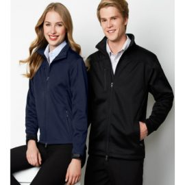 The Biz Collection Ladies Soft Shell Jacket is a Biz Tech, water repellent, breathable, soft shell jacket.  Black or Navy.  Great softshell jackets from Biz Collection.