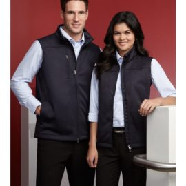 The Biz Collection Ladies Soft Shell Vest is a water repellent, breathable, Biz Tech jacket.  Black or Navy.  S - 2XL.  Great branded soft shell vests.