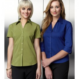 The Biz Collection Ladies Metro 3/4 Sleeve Shirt is a modern fit, open neckline shirt.  8 colours.  6 - 26.  Great work shirts from Biz Collection.