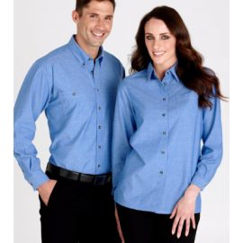 The Biz Collection Ladies Wrinkle Free Chambray Long Sleeve Shirt is a 100% cotton, easy fit, easy iron shirt.  Great work shirts from Biz Collection.