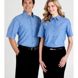 The Biz Collection Ladies Wrinkle Free Chambray Short Sleeve Shirt is an easy iron, easy fit shirt. Chambray Blue. Great work shirts from Biz Collection.