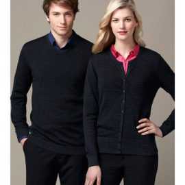 The Biz Collection Ladies Origin Merino Cardigan is a 100% Merino Wool, modern fit cardigan.  Black.  Great merino garments from Biz Collection.