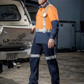 The Syzmik Mens Taped Utility Pant is a midweight cotton drill pant. Retroreflective tape. Navy or Black. Great workwear from Syzmik.