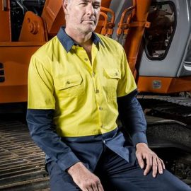 The Syzmik Mens Hi Vis Spliced Industrial Shirt is 100% cotton drill shirt. Large chest pockets. 4 colours. Great Syzmik team workwear.