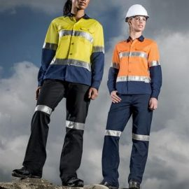 The Syzmik Womens Taped Utility Pant is a 280gsm midweight cotton drill pant with retroreflective tape.  Navy or Black.  Great Syzmik workwear.