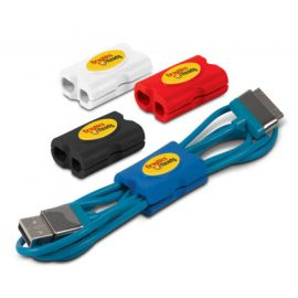 The Trends Collection Qwerky Cable Tidy is a soft touch silicon holder for keeping cables tidy & tangle free.  4 colours.  Great branded office promotional product.