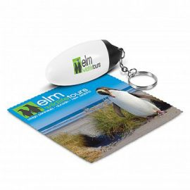 The Trends Collection Micro Key Ring is a capsule that contains a microfibre cleaning cloth.  White/Black.  Branded cloth & key ring.  Great branded promo product.