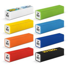 The Trends Collection Tesla Power Bank charges numerous types of devices.  8 colours available.  Great branded promotional power bank product.