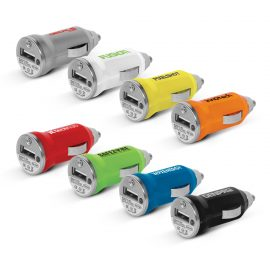 The Trends Collection Mini Car Charger is a small car charger with an LED that lights up.  Available in 8 colours.  Great promotional business product.