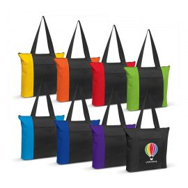 The Trends Collection Avenue Tote Bag is a luxury tote bag from 600D Polyester. Front pocket and zip closure. 8 colours. Great branded promo bags.