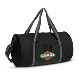 The Trends Collection Voyager Duffle Bag is a roll duffle bag.  600D polyester.  External pockets.  Black.  Great branded sports or promotional bag.