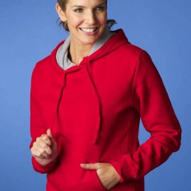 The Aussie Pacific Ladies Hotham Hoodies are made from 80/20 cotton and polyester. Grey marle hood line. 5 colours. Great branded hoodies and sportswear