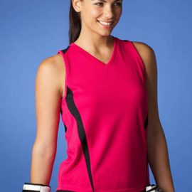 The Aussie Pacific Ladies Eureka Singlet is made from 100% driwear polyester moisture removal material.  16 colours.  Great branded singlets & sportswear.