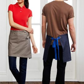 The Biz Collection Unisex Urban Half Waist Apron is made from 50% cotton & 50% polyester textured fabric.  Removable waist straps.  Divided front pocket.  Available in 4 colours.