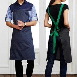 The Biz Collection Unisex Urban Bib Apron is made from 50% Cotton and 50% Polyester textured fabric.  Removal back straps.  Divided from Pocket.  Available in 4 colours.