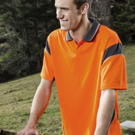 The Syzmik Hi Vis Short Sleeve Aztec Polo Shirt is made from 100% polyester.  175gsm.  Quick Dry & Breathable.  Compliant with Hi Vis Standards.  In 4 colours.