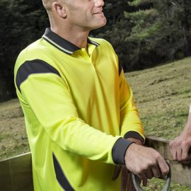 The Syzmik Hi Vis Long Sleeve Aztec Polo shirt is made from 100% Polyester and 175gsm. Hi Viz Compliant. 4 colour combination options.