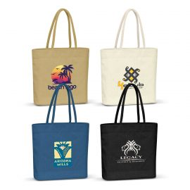 The Trends Collection Carrera Jute Tote Bag is a high fashion laminated natural jute tote bag with padded cotton handles.  4 colours.  Great branded bags.