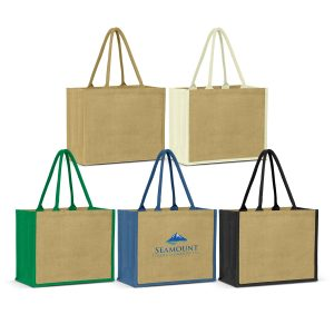 The Trends Collection Torino Jute Shopping Bag is an extra wide laminated jute tote bag. 4 colours available. Great branded bags & promotional products.