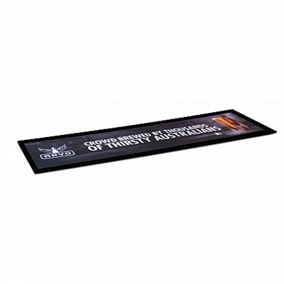 The Trends Collection Large Counter Mat is ideal for POS advertising in retail & hospitality outlets. Low Profile Rubber Base. Great branded hospitality product.
