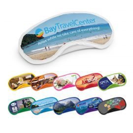 The Trends Collection Full Colour Eye Mask is ideal for use on planes when travelling.  Full colour print.  11 colours. Great branded travel promotional products.