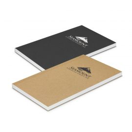 The Trends Collection Reflex Notepad Small is a perfect bound note pad.  Cardboard cover with lined pages. Black or Natural.  Great branded notebooks.