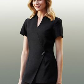 The Biz Collection Spa Tunic is a 97% polyester, premium stretch fabric, linen appearance tunic. Asymmetrical mock wrap front. 3 colours.