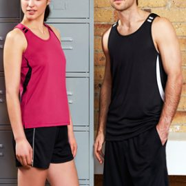 The Biz Collection Ladies Flash Singlet is a 100% Biz Cool Breathable polyester singlet. 13 colours available. Great branded sports singlets & biz cool sportswear.