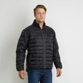 The Aurora Mens Ultralite Puffer Jacket used 100% recycled synthetic down.  Available in Black & Navy.  Sizes XS - 5XL.  Great warm branded winter apparel.