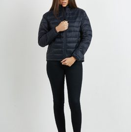 The Aurora Womens Ultralite Puffer Jacket used 100% recycled synthetic down.  Available in Black & Navy.  Sizes 10 - 16.  Great warm branded winter apparel.