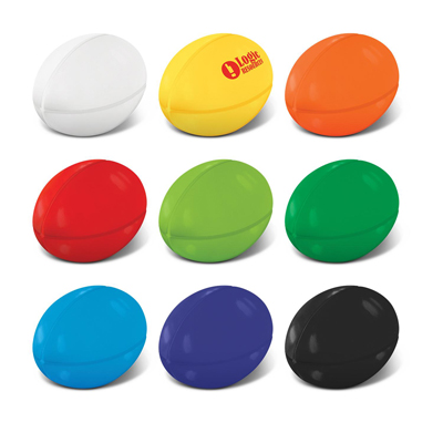 The Trends Collection Stress Rugby Ball is an anti stress rugby ball made from P.U.  Available in 9 colours.  Great branded sports promotional product.