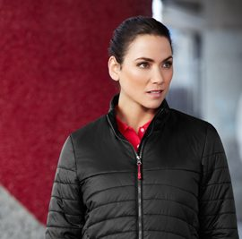 The Biz Collection Womens Expedition Quilted Jacket is a light water repellent, insulated jacket. In Black or Navy. XS - 2XL. Great branded quilted jackets & Biz Collection apparel.