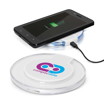 The Trends Collection Apollo Wireless Charger is a futuristic 5 Watt wireless phone charger.  In White.  Great branded wireless charger promo products.