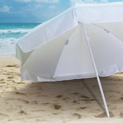 The Trends Collection Bahama Beach Umbrella is a large 113cm rib length, 8 panel beach umbrella.  In White/Silver.  Great branded beach umbrellas.