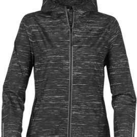 The Stormtech Womens Ozone Lightweight Shell has an elasticised hood, cuffs and hem. Great for mild environments. Waterproof resistant to 600m. In Carbon.