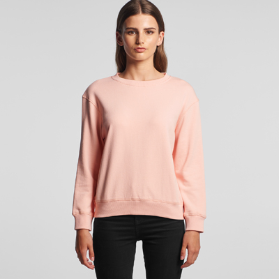 The AS Colour Womens Premium Crew is a relaxed fit, heavyweight, 350gsm Cotton French Terry hoodie. 5 colours. Great printed heavyweight AS Colour crew sweats.