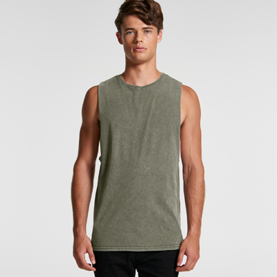 The AS Colour Stone Wash Barnard Tank is a regular, raw armhole edged, stone wash finish singlet.  5 colours.  XS - 2XL.  Great branded stone wash singlets.