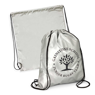 The Trends Collection Titanium Drawstring Backpack is an attention grabbing drawstring backpack with woven drawstrings.  In Silver.  Great branded backpacks.