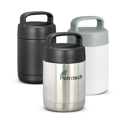 The Trends Collection Caldera Vacuum Flask is a 380ml double wall vacuum insulated food flask.  3 colours.  Engraving and print options.  Great vacuum flasks.