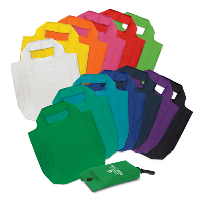 The Trends Collection Atom Fold-Away Bag is a great reusable shopping bag that folds away in to a compact pouch.  13 colours.  Branding on pouch only.