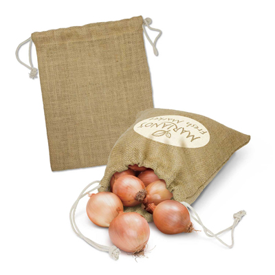 The Trends Collection Jute Produce Bag medium is a reusable jute bag with drawstring closure.  Natural.  Great branded natural fibre eco bags.