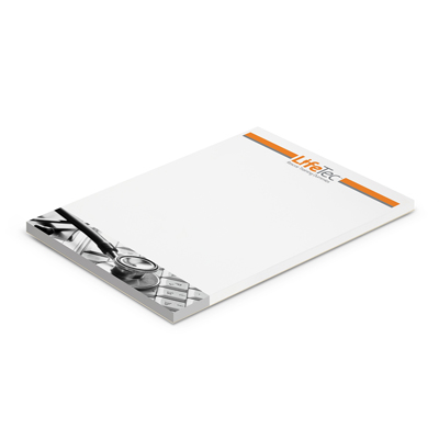 The Trends Collection A6 Note Pad is a great 25 leaf mini note pad. Cardboard back. Full colour printing. Great branded printed promo products.