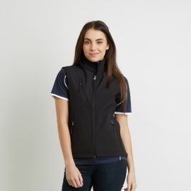 The Aurora Womens PRO2 Softshell Vest is a bonded 3 layer softshell vest.  High water resistance and breathability.  In Black.  Up to size 18.  Great softshell vests.