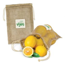 The Trends Collection Jute Net Produce Bag is a great produce bag made from unbleached jute.  Great eco promo bags with branding available with your logo.