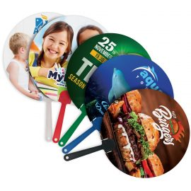 The Trends Collection Breeze Cooling Fan is a plastic hand fan with full colour branding both sides.  5 colours available for handles.  Great promo products.